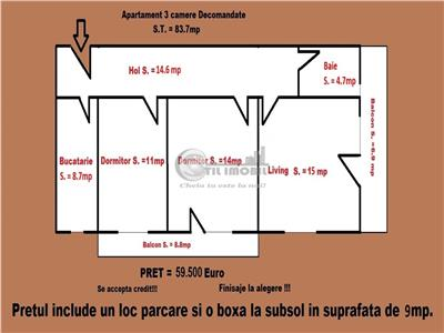 Apartament 3 camere decomandat 84mp
