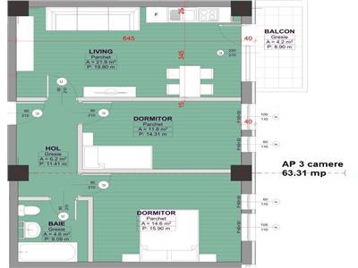 Apartament 3 camere decomandat Bucium