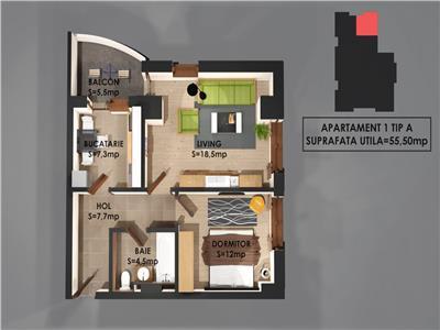 Apartament 2camere total decomandat 56mp