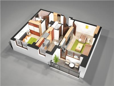 Apartament 2camere total decomandat 57mp