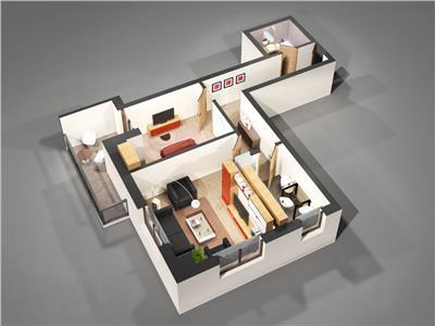 Apartament 2camere total decomandat 62mp