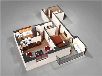 Apartament 2camere total decomandat 63mp
