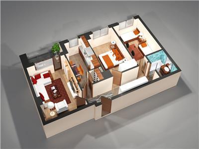 Apartament  3camere total decomandat 76mp