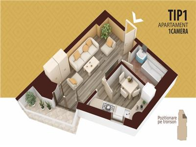 Apartament 1 camera decomandat BLOC NOU