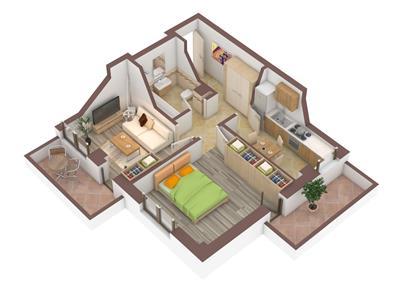 Apartament 2 camere, decomandat 59mp