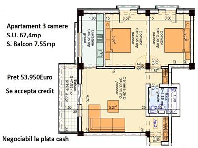 Apartament 3 camere 75mp !!