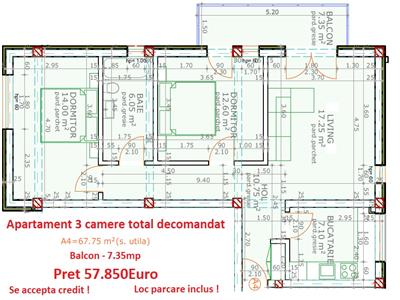 Apartament 3 camere total decomandat 75mp