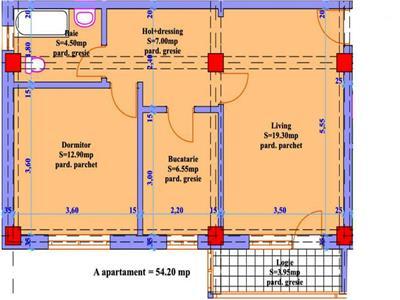 Apartament 2 camere in suprafata de 54,20mp
