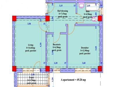 Apartament 2 camere in suprafata de 49 mp