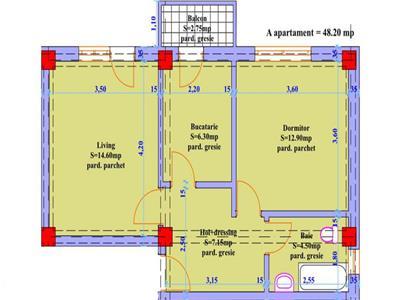 Apartament 2 camere in suprafata de 48 mp