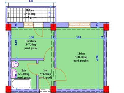 Apartament 1 camera in suprafata de 38 mp