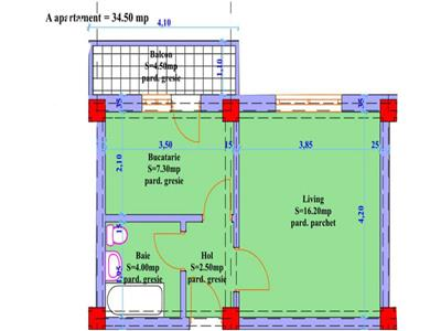 Apartament 1 camera in suprafata de 34 mp