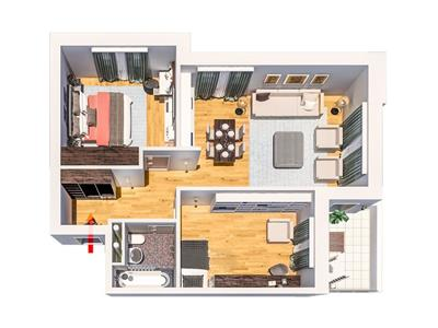 Apartament 3 camere Tatarasi,  61 000 euro, tip I