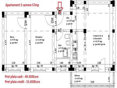Apartament 3 camere 49.350E