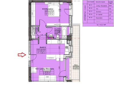 Apartament 2 camere, tip A, 62,41 mp