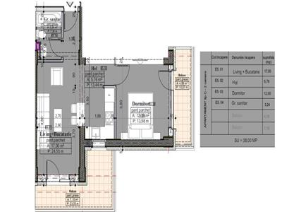 Apartament 2 camere, tip C, 49,68 mp
