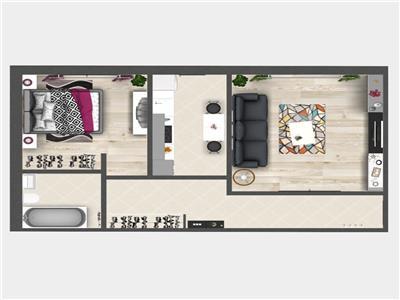 Apartament cu 2 camere, Bucium, 52.4mp utili, 52.400 euro