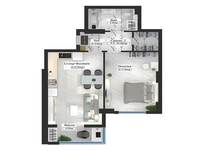 Apartament tip Premium, 2 camere, 59.80mp
