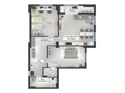 Apartament tip Premium, 3 camere, 99.1mp