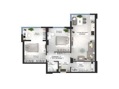 Apartament tip Premium, 3 camere, 95.65mp