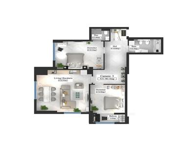 Apartament tip Premium, 3 camere, 90.15mp