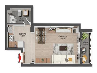 Apartament 1 camera - 30000Euro - Valea Lupului