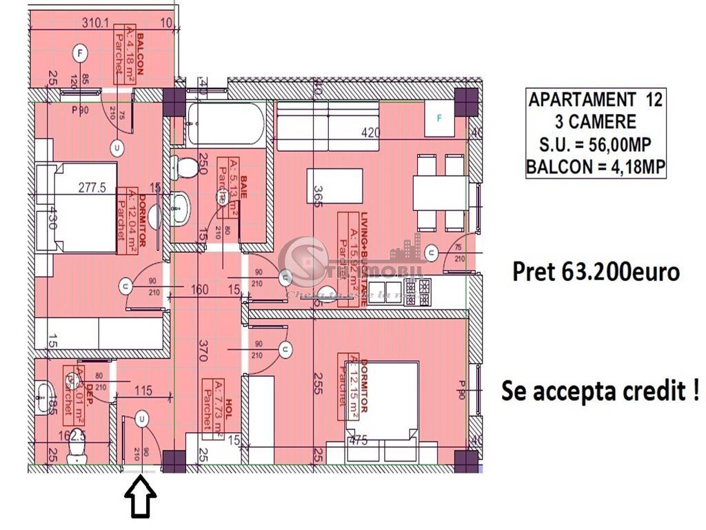 Apartament 3camere, 2bai - 63.200Euro - Pacurari