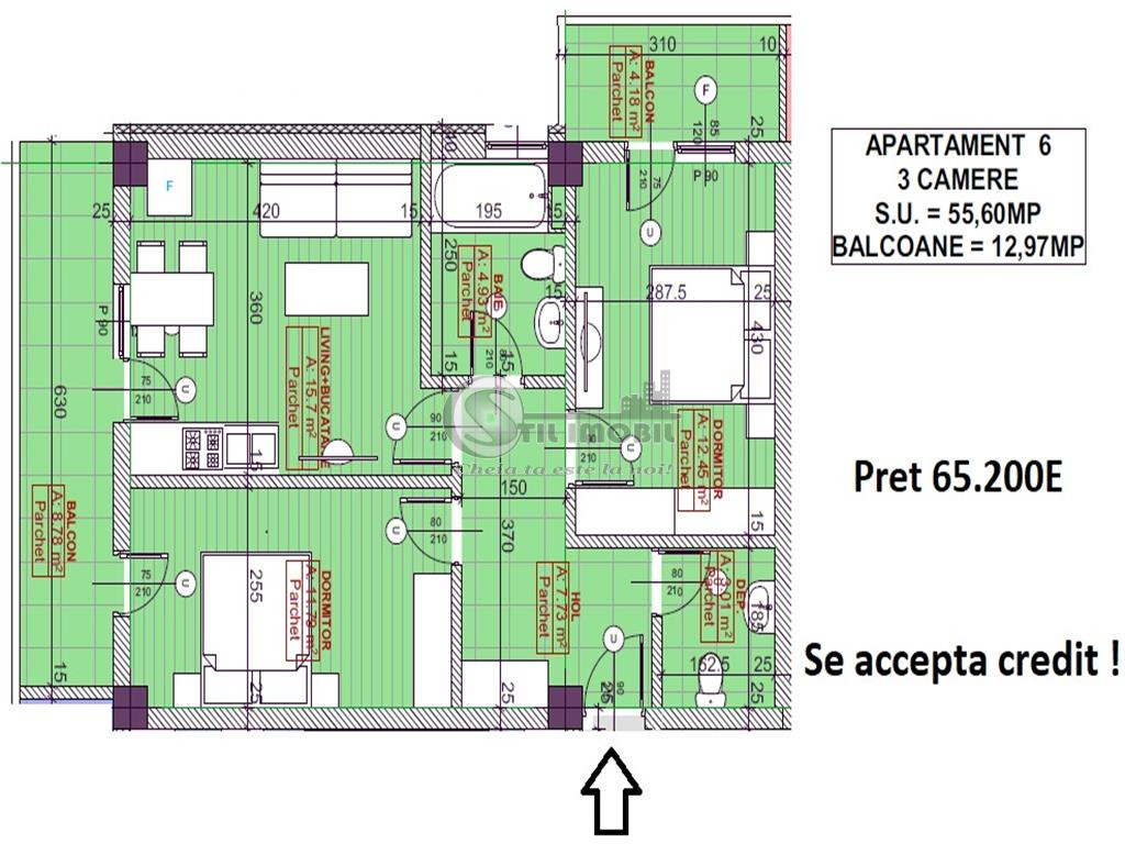 Apartament 3camere, 2bai - 65.200Euro - Pacurari