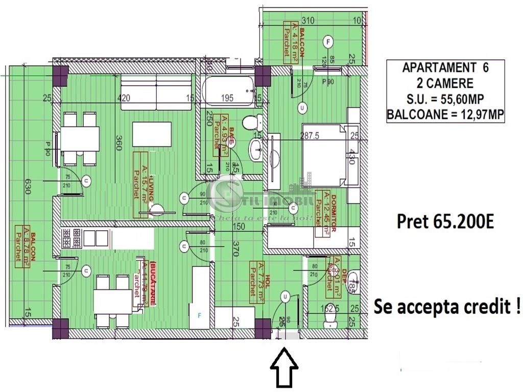 Apartament 2camere, 69mp - 72450Euro - Pacurari