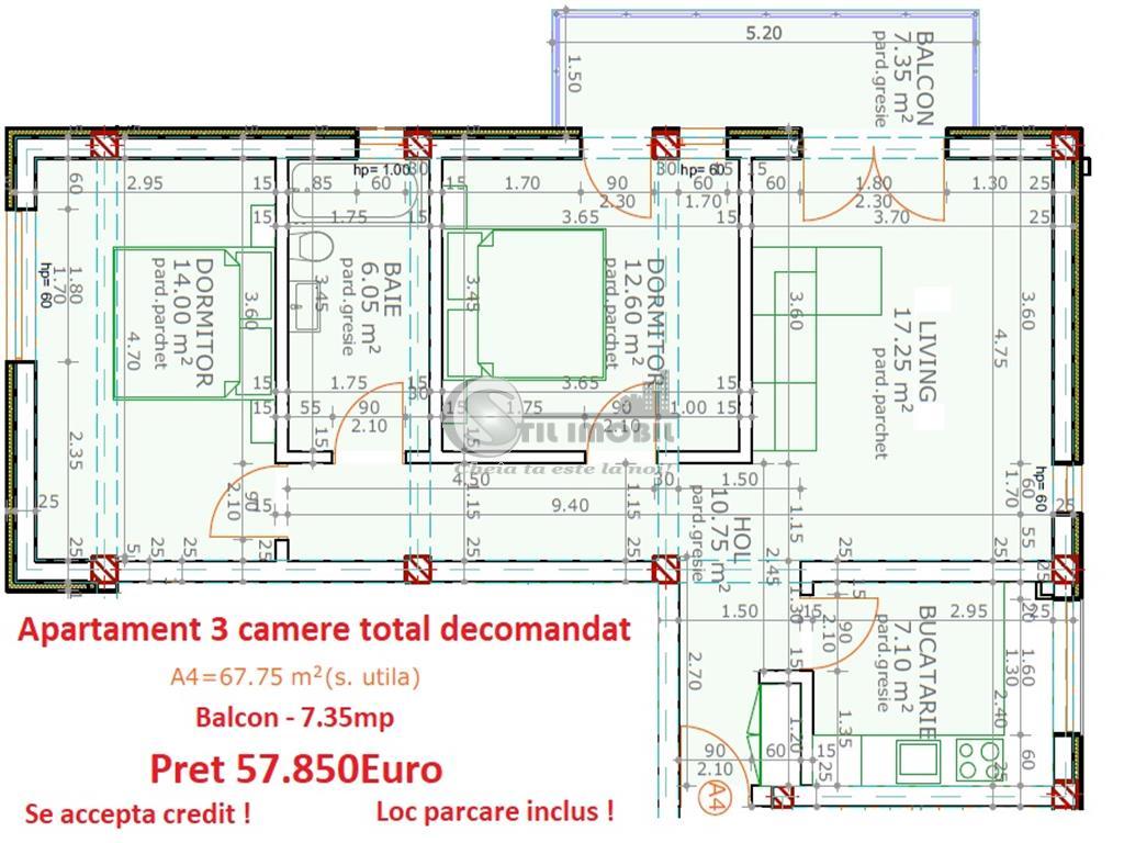 Apartament 3 camere total decomandat 75mp