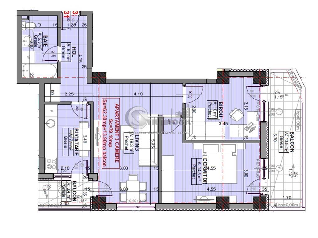 Apartament 3 camere-  Moara de vant