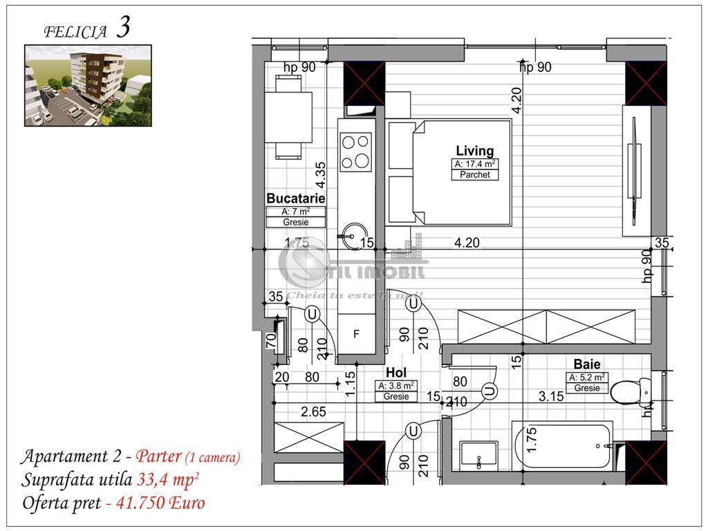 APARTAMENT 1 CAMERA  BAZA III 33,4mp 41750euro