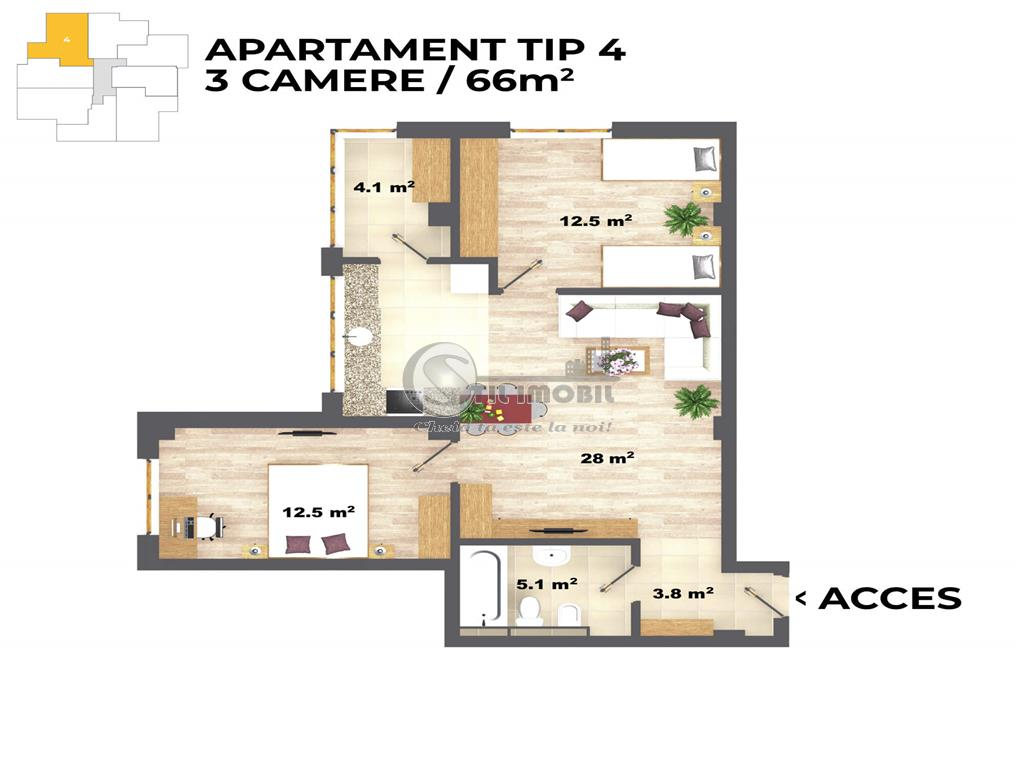 Apartament 3 camere, 66mp CUG V Adanca 2020
