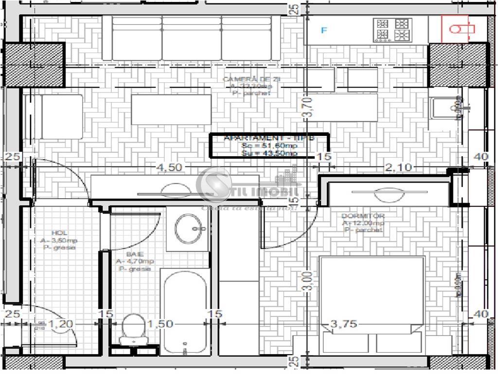 Apartament 2 camere, Oancea, Tatarasi, 43.10 mp utili