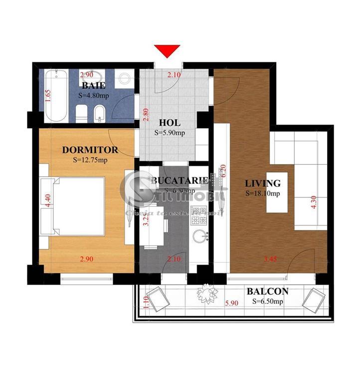 Apartament 2 camere ,52mp, Platou Galata bloc nou
