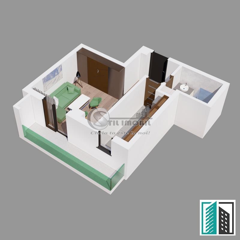 Apartament 1 camera 37 mp  Bellaria- Visan
