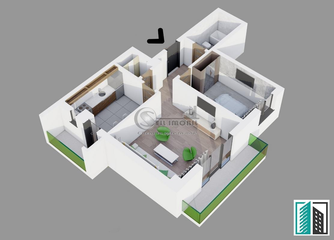 Apartament 2 camere 66 mp Bellaria- Visan