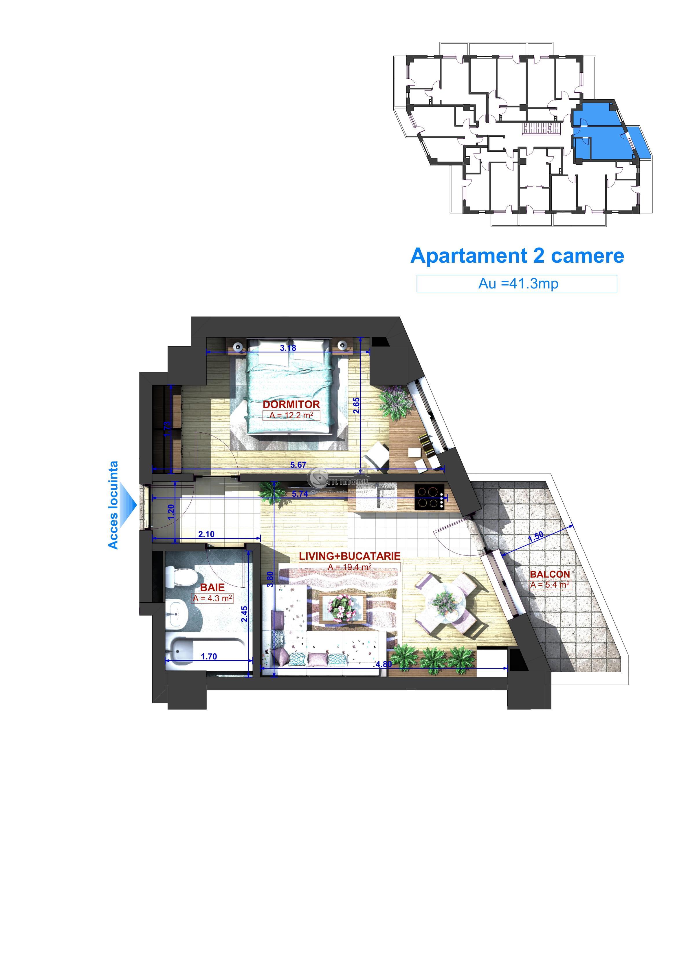 Apartament 2 camere, Bucium, 41,3mp