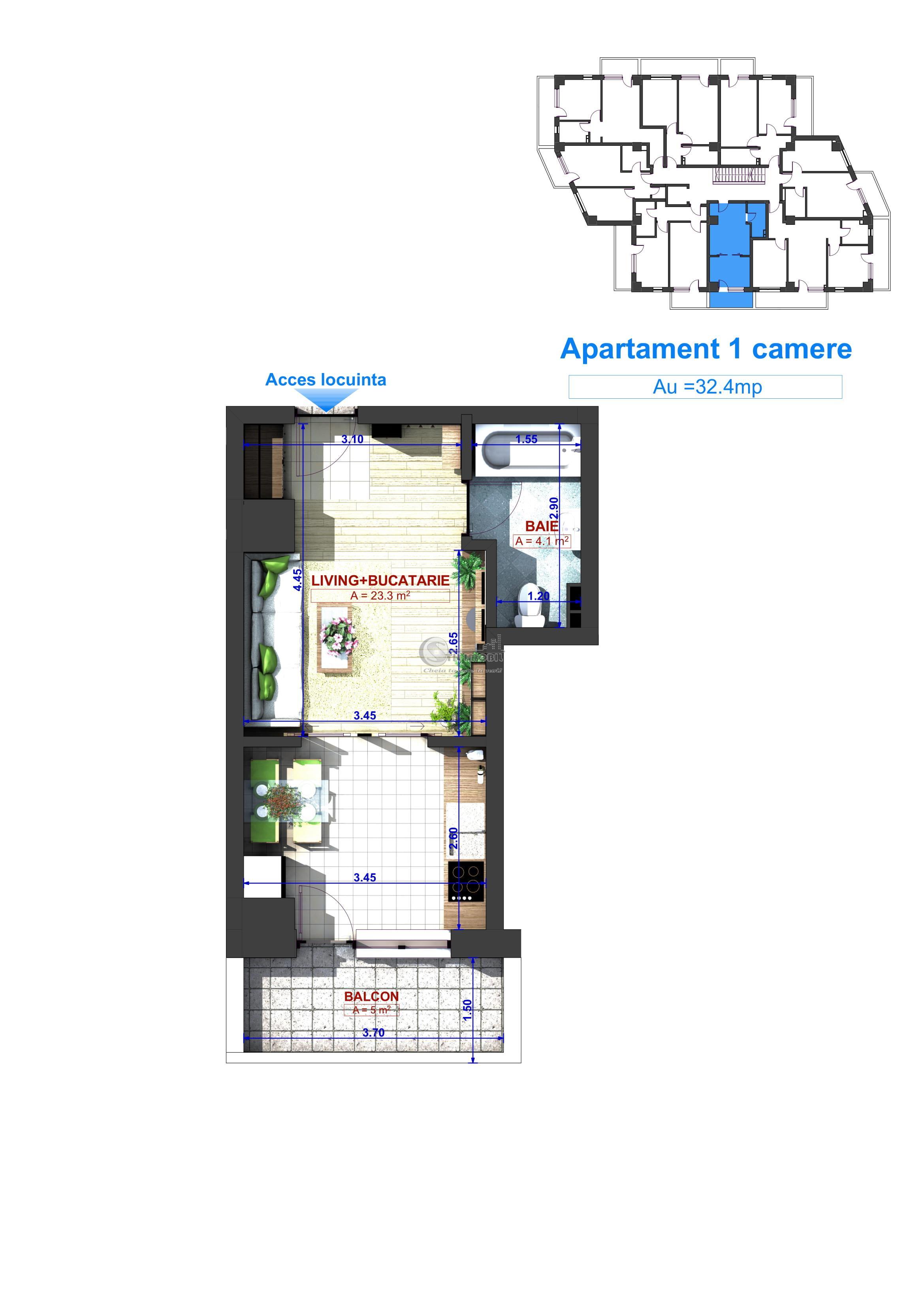 Bucium, Apartament 1 camera - 32.4mp