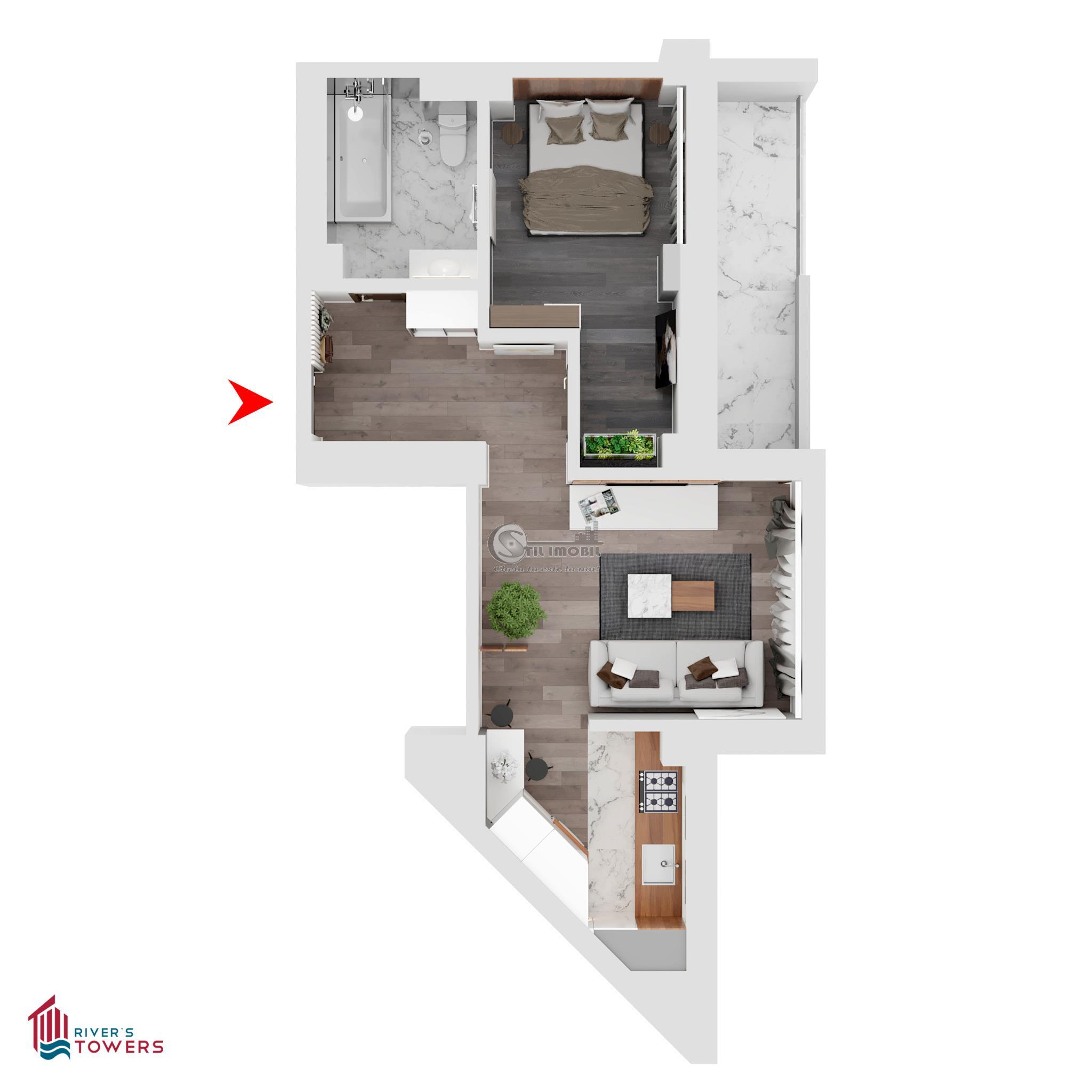 Apartament 2 camere, Iulius Mall, 49mp-Mutare imediata