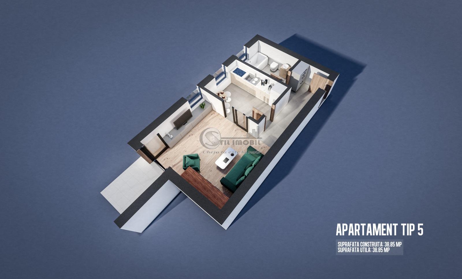 Apartament 1 camera parter , Moara de Vant , 39mp + terasa