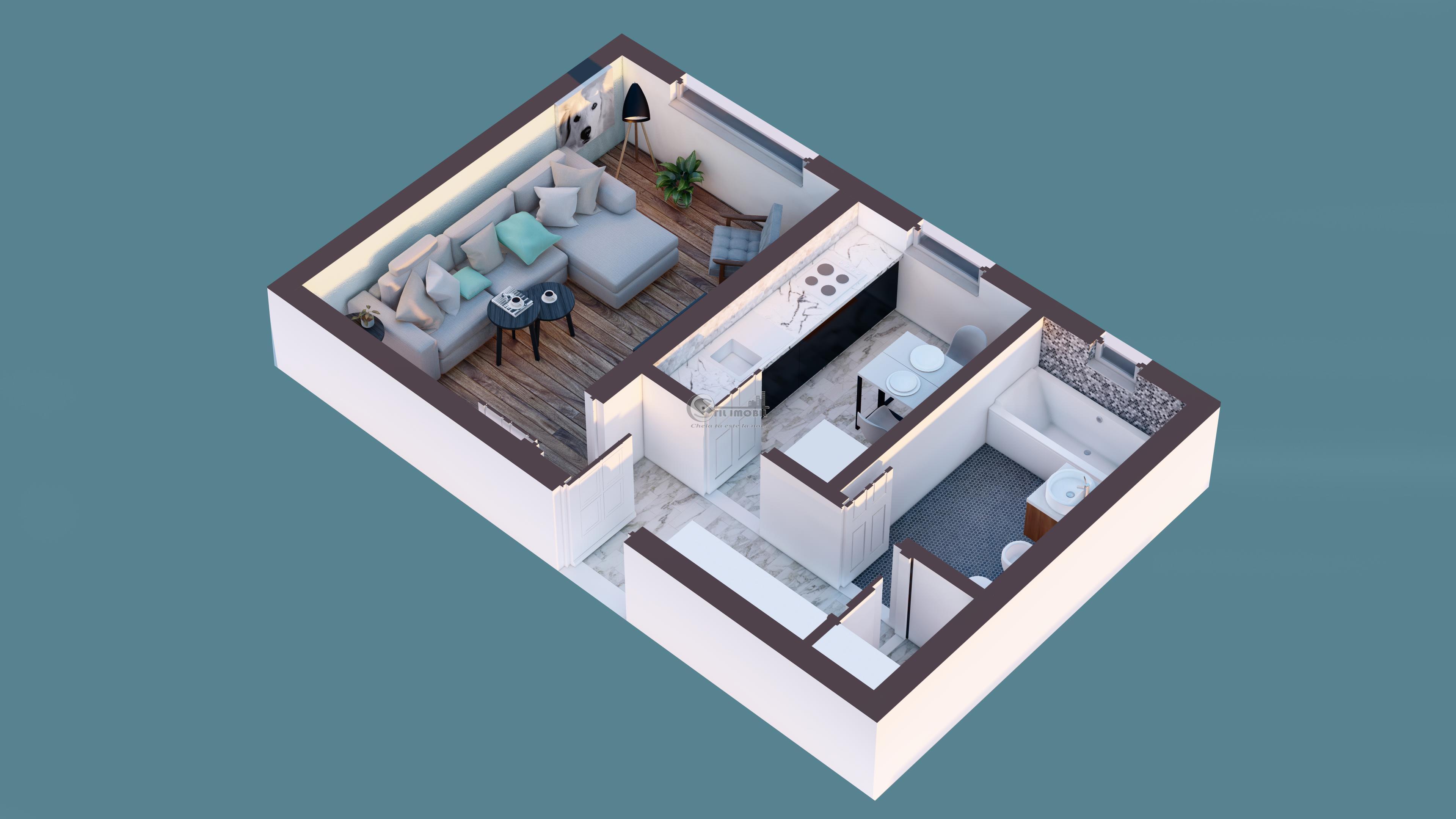 Apartament 1 camera decomandat-35 mp-Manta Rosie-Hlincea