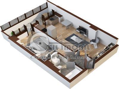 Apartament 2 camere, Oancea, Tatarasi, 52.2mp utili, balcon inchis