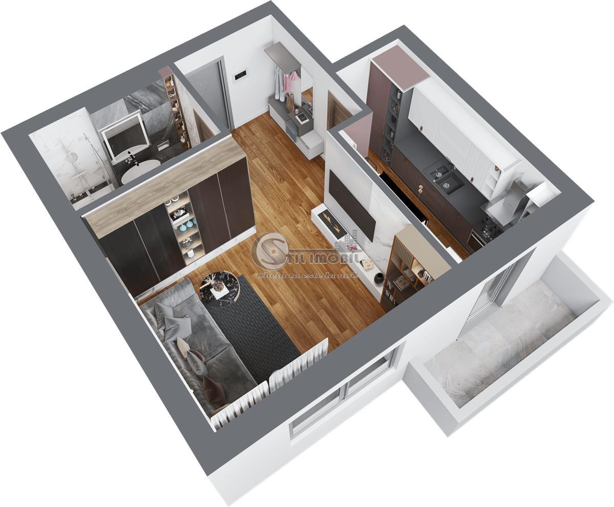 Apartament nou 1 camera decomandat Continental pret 45625 Euro