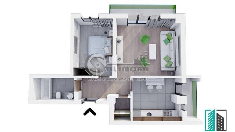 Apartament nou, 2 camere, 66 mp, Bucium, predare sept.2021