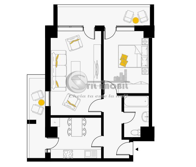 Apartament cu 2 camere, decomandat, 62.5mp, Capat CUG 74199 euro