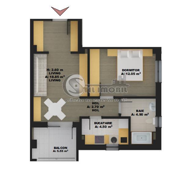 Apartament cu 2 camere, 51,1mp, 48500 euro Nicolina - zona de vile