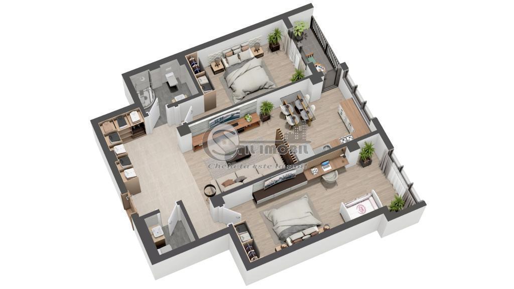 Apartament 3 camere, 2 bai - Valea Lupului - 76mp