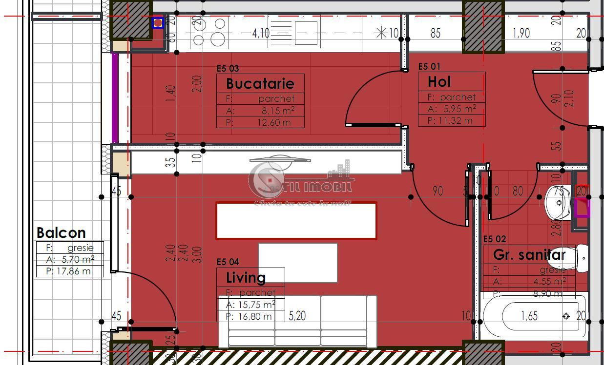 Apartament 1 camera, decomandat, 41,7 mp, zona centrala