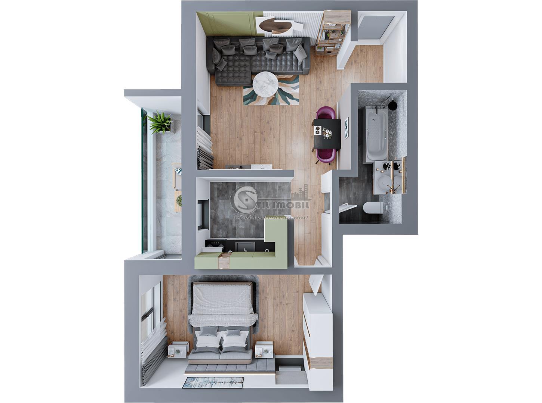 Apartament 2 camere, Dacia, 55 mp, 60.270 euro
